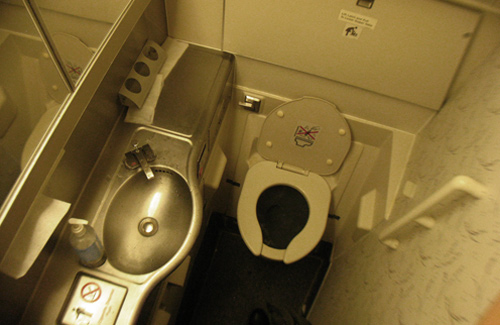 A familiar sight for travelers - and there's that non-stick vacuum toilet! (Image: )