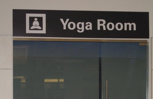 The entrance to a yoga room at San Francisco International Airport. (Image: JMazzolaa)
