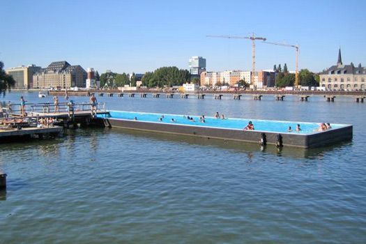 The floating beach, Badeschiff, Berlin. Photo by ARENA BERLIN