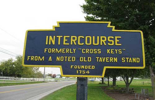 Intercourse, Pennsylvania (Image: Dougtone used under a Creative Commons Attribution-ShareAlike license)