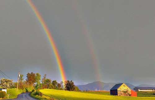 A rainbow over a farm (Image: hotshot9766)