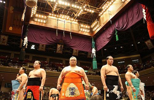 Sumo wrestlers before a tournament (Image: kimama_labo)