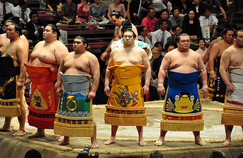 Sumo wrestlers before a tournament (Image: A Little Lam)