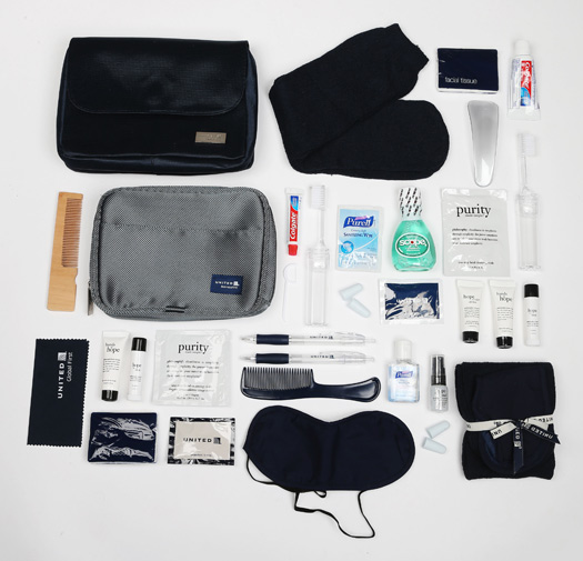 Everything you could possibly need for a United Airlines flight is in its amenity kits. © Cheapflights