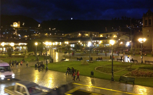 Cusco's main square at night (Image: Melisse Hinkle)