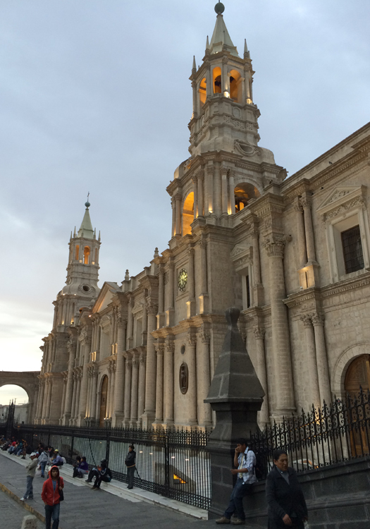 The Basilica Cathedral of Arequipa in the Plaza de Armas (Image: Pearse Lombard)