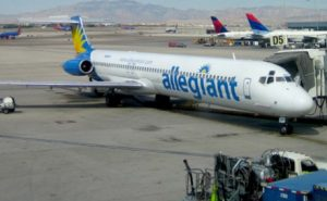 an allegiant airlines plane at the gate