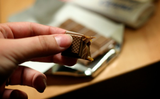 square of caramel-filled chocolate