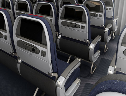 airline seat backs in economy class