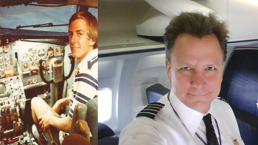 (Left) Pete Schlichting in 1979 as a student at Embry-Riddle Aeronautical University. (Right) The pilot in 2015. (Image: Pete Schlichting)