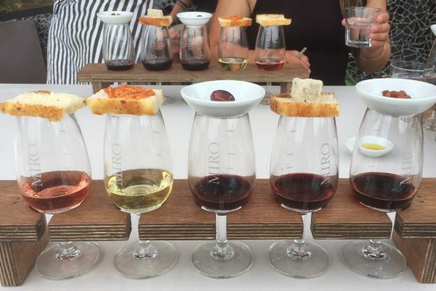 A wine tasting and food pairing at Casita Miro vineyards on Waiheke Island, New Zealand.