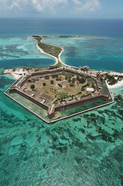 Aerial view of Fort Jefferson in Dry Tortugas National Park, Key West