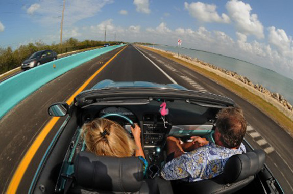 View from a car driving on the Overseas Highway