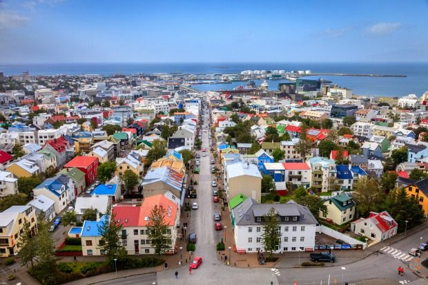 Bird's eye view of downtown Reykjavik from the observation deck of Hallgrimskirkja church