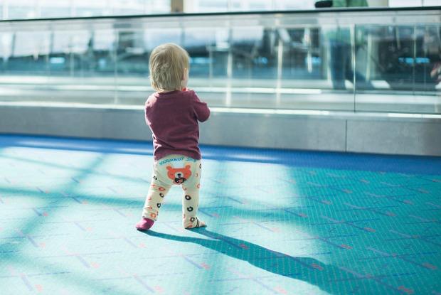 toddler at airport