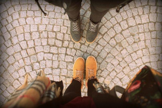 Feet looking down