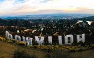 Hollywood sign from behind
