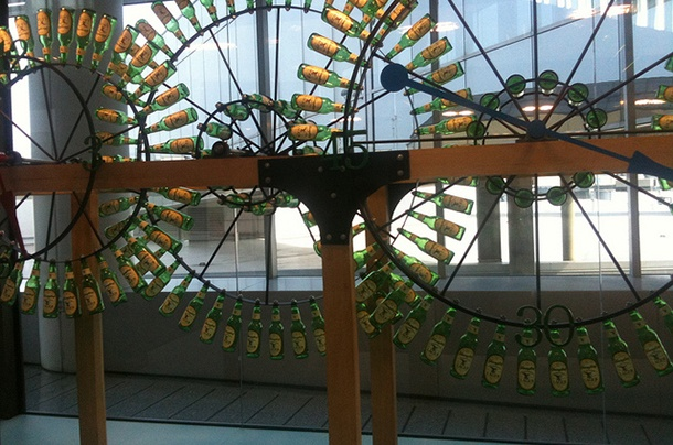 beer bottle display at Philadelphia Airport