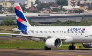 A LATAM airliner on the runway