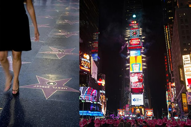 split image of the hollywood walk of fame next to times square