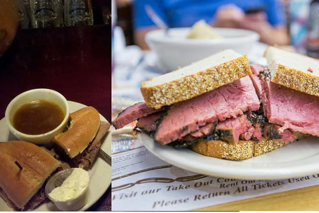 split image of french dip sandwich and pastrami from katz deli in new york