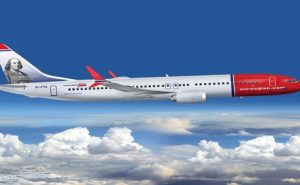 Norwegian Air jet with Benjamin Franklin on tail