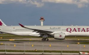 Qatar Airways plane on runway