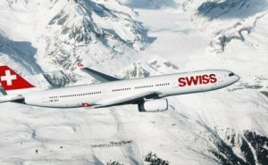Swiss Airlines flight over the Alps