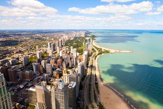 Lake Michigan © Maksymowicz/iStock/Thinkstock [http://www.thinkstockphotos.co.uk/image/stock-photo-chicago-lake-shore-drive-aerial-view/477755633]
