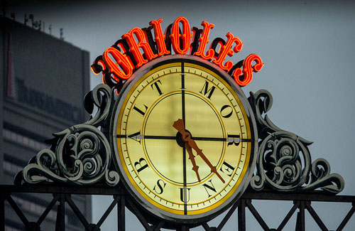 Baltimore Sun Clock at Camden Yards (Image: Keith Allison used under a Creative Commons Attribution-ShareAlike license)