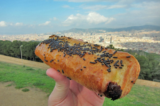 A beautiful view and a beautiful doughnut in Barcelona. Photo by Nick M