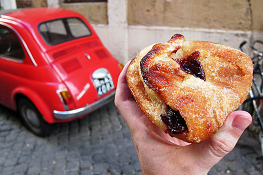 Pastries and cars in Rome. Photo by Nick M.
