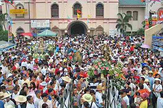 Crowds in front of the church during the Obando Fiesta. Photo by Obando Fertility Rites