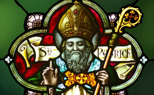 Saint Patrick in a stained-glass window