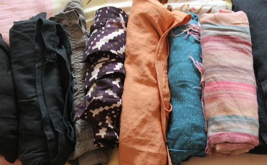 rolled clothes for packing