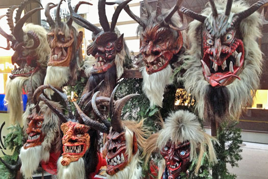 Krampus masks. Photo by Krista