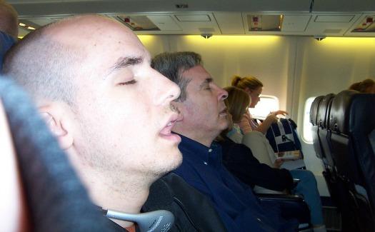 Sleeping seatmate on a flight to Hawaii