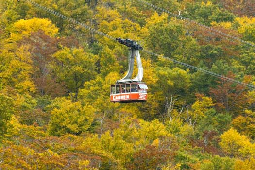 The aerial tramway to the peak of Cannon Mountain, New Hampshire