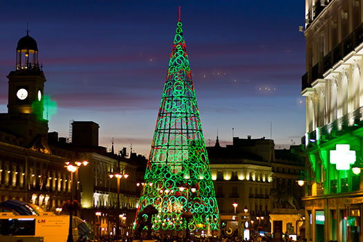 Madrid - Christmas trees with real bling