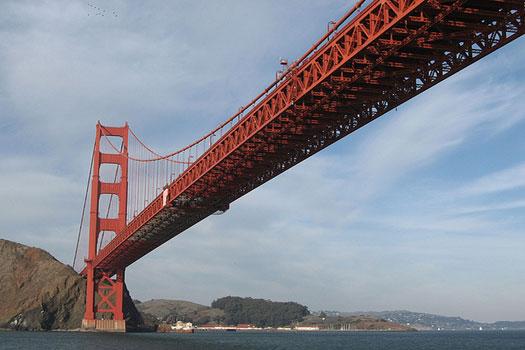 The sun hitting the Golden Gate Bridge, San Francisco