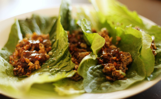 Stacy Spensley, vegetarian tempeh lettuce wraps via Flickr CC BY 2.0