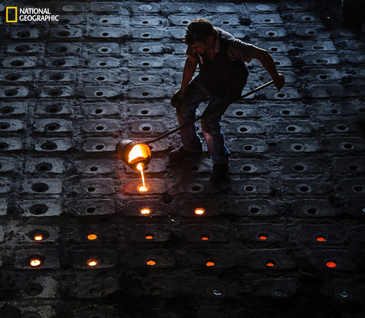 People making money from molten iron. Photo and caption by Murat Yılmaz, National Geographic 2014 Photo Contest
