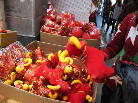 Toy rams on sale for Chinese New Year. Photo: Gavin Anderson