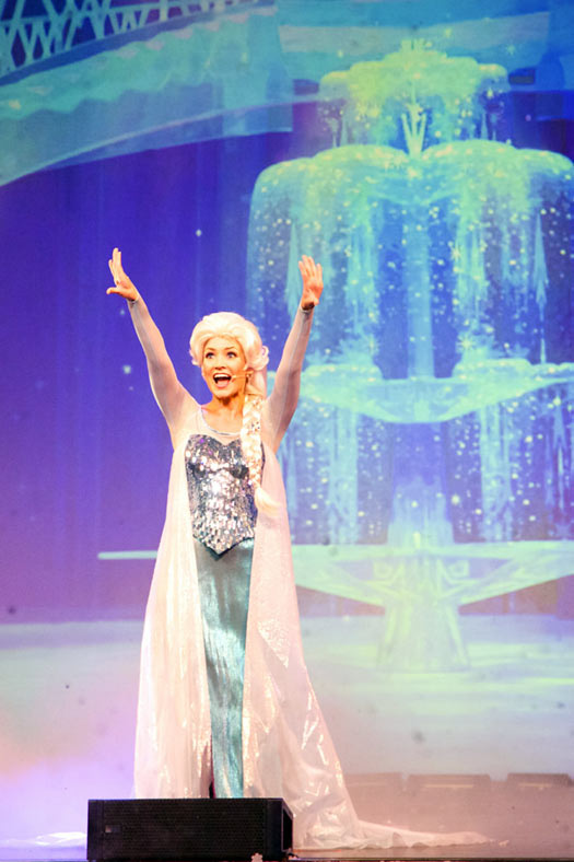 Queen Elsa singing at a Disney singalong. Photo: Michael Lombardi