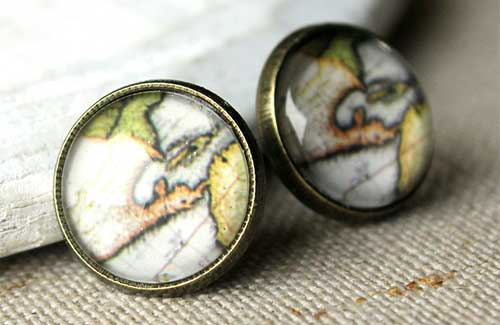 Old Map Earrings (Image: Acanthus JD)