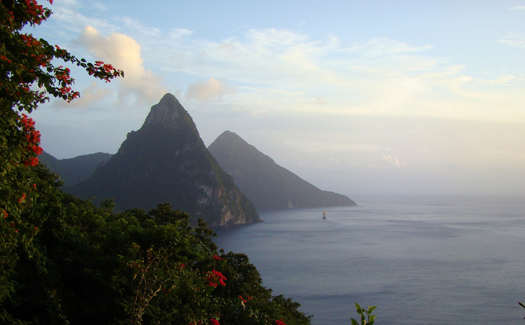 Looking out at The Pitons in St. Lucia (Image: benaston)