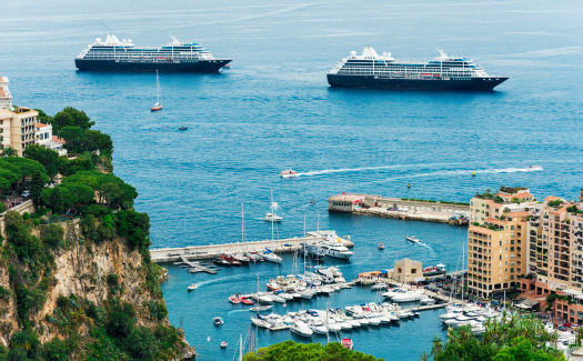Monaco Harbour and Monte Carlo in France.
