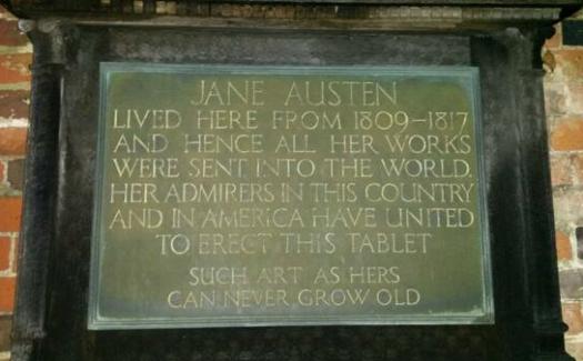 Open Plaques, Jane Austen's plaque in Chawton via Flickr CC BY 2.0