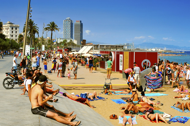 La Barceloneta Beach, in Barcelona, Spain