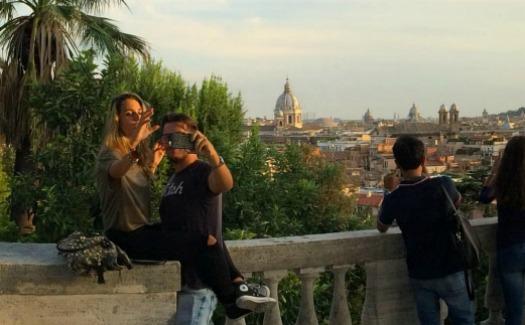People taking photos at Villa Borghese